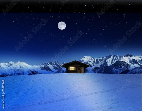 canvas print picture Schihütte bei Mondschein im Gebirge