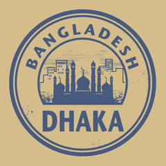 Stamp or label with text Dhaka, Bangladesh inside