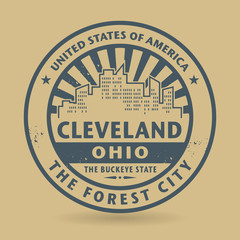Grunge rubber stamp with name of Cleveland, Ohio
