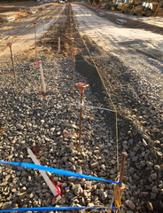 Construction site with gravel and dirt road