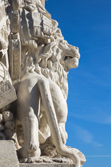 Vienna - lion on statue of guardians in Schonbrunn palace.