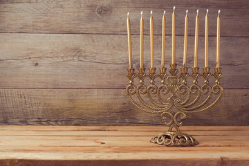 Menorah on wooden table