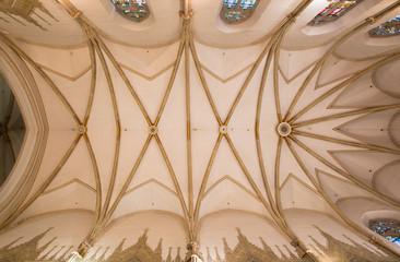 Trnava - ceiling in presbytery of gothic St. Nicholas church.