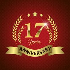 Celebrating 17 Years Anniversary, Golden Laurel Wreath & Ribbon
