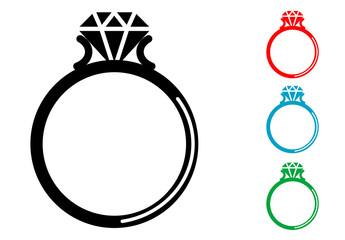 Pictograma anillo con diamante con varios colores