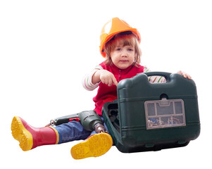 child in hardhat with drill and tool box