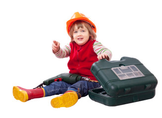 Little builder in hardhat with tools