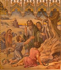 Trnava - fresco of scene as Moses made a bronze snake