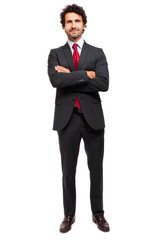 Mature manager full length isolated on white