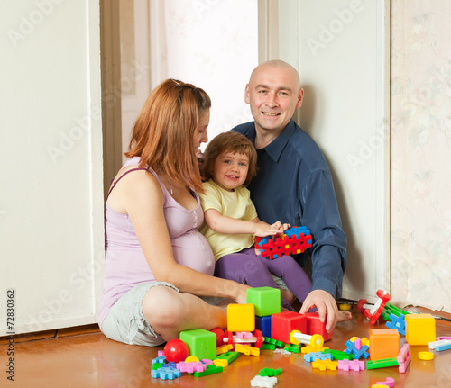 canvas print picture Happy family  in home