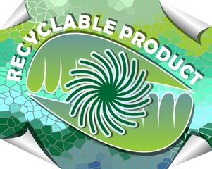 Label for recyclable product in green and blue mosaic design