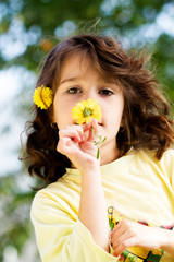 Little haired girl in autumn