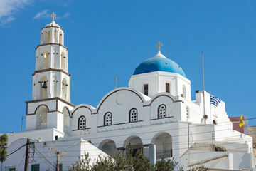 The white church of Pyrgos on Santorini island, Greece