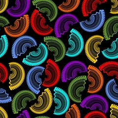 Seamless dark background with rainbow semicircle patterns