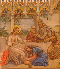 Trnava - fresco of scene Jesus and sinful woman