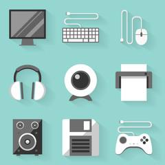 Flat icon set. Computer. White style