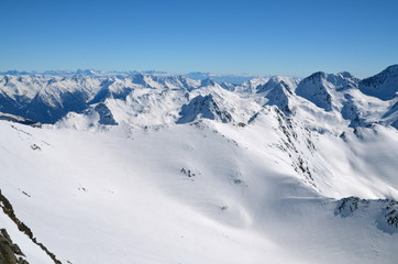 Alpine ski resort in Sölden in Otztal Alps, Tirol, Austria