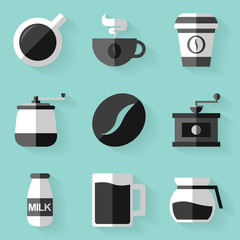 Flat icon set. Coffee. White style
