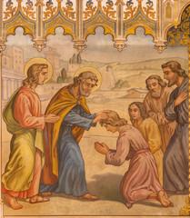 Trnava- fresco of scene the Apostles at confirmation