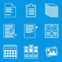 Blueprint icon set. Paper