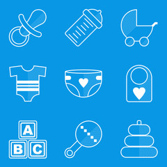 Blueprint icon set. Baby. Children. Family