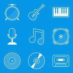 Blueprint icon set. Music