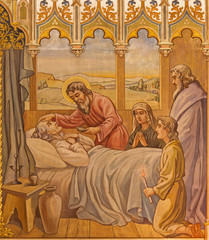 Trnava - The neo-gothic fresco the Apostles at viaticum