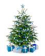 Leinwanddruck Bild - Stilvoller Weihnachtsbaum mit Geschenken