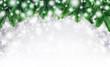 Leinwandbild Motiv Hintergrund aus Tannenzweigen und Schnee