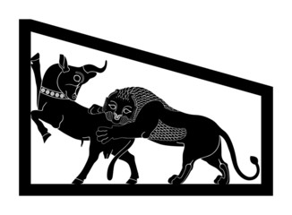 Persepolis Lion & Bull Combat Silhouette