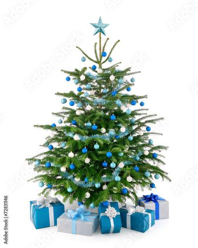 Leinwanddruck Bild Stilvoller Weihnachtsbaum mit Geschenken