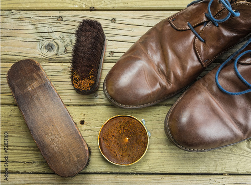 canvas print picture shoes and shoe polish