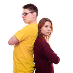 Misunderstandings two people stand back to back