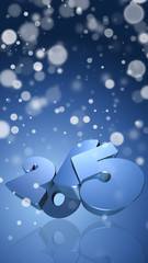 Number 2015 in 3D on blue background with snowflakes