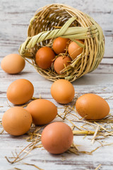 Brown Eggs Fallen from Straw Basket