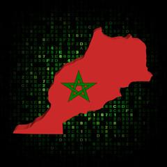 Morocco map flag on hex code illustration
