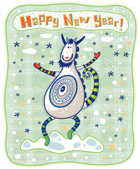 Funny dancing goat, Happy New Year!