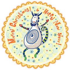 Dancing unusual decorative goat, Happy Holidays