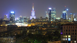 Fototapety Panorama of Warsaw by night