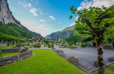 A cemetery in Lauterbrunnen village, Switzerland