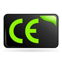 conformité européenne sur bouton web rectangle vert