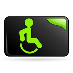 handicapé sur bouton web rectangle vert