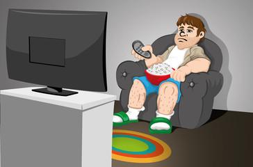 Sedentary Man sitting on sofa watching television