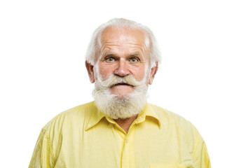 Old bearded man on white background