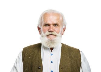 Old bearded man on white background