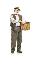 Old man with basket isolated