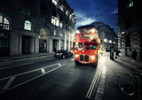 old bus on street of London - 72834510