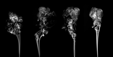 Abstract white smoke collection on black background
