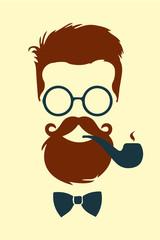 Hipster fumando pipa vector vintage