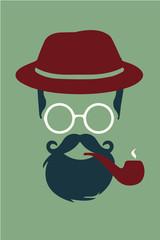 Hipster con sombrero fumando pipa